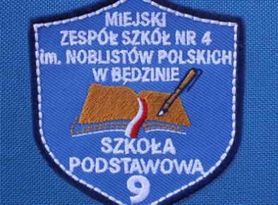 tarcza szkolna haftowana SP nr 9 w Będzinie